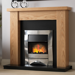 Pureglow Ludlow Oak and Zara Electric Fireplace Suite