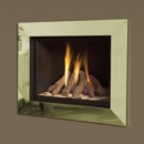 Verine Celena Wall Mounted Gas Fire Brass Trim Black Interior
