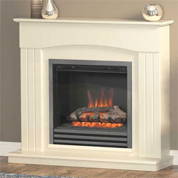Bemodern Linmere Almond 3 Bar Fret Electric Fireplace Suite