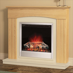 Bemodern Linmere Oak Electric Fireplace Suite
