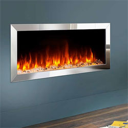 Costa Fires Atlantis MF Silver Trim Hole in Wall Electric Fire