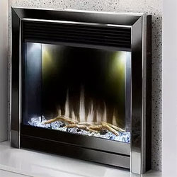Costa Fires Mercury Silver and Black Nickel Contemporary Electric Fire