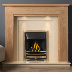 Gallery Atwick Oak Wooden Fireplace with Perla Marble Suite
