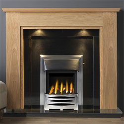 Gallery Atwick Oak Wooden Fireplace with Black Granite Suite