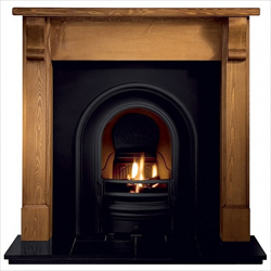 Gallery Coronet Black Cast Iron Arch Solid Fuel Package