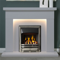 Gallery Durrington Arctic White Marble Fireplace