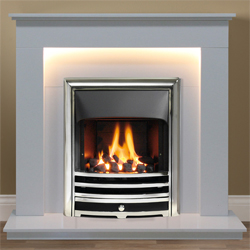 Gallery Hutton Arctic White Marble Fireplace