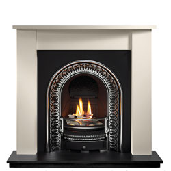 Gallery Regal Cast Iron Arch Limestone Solid Fuel Package