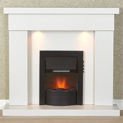 Harrier Fireplaces Acadia Black Electric Fireplace Suite