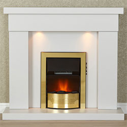 Harrier Fireplaces Acadia Brass Electric Fireplace Suite