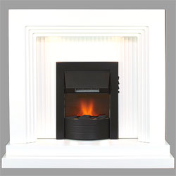 Harrier Fireplaces Canyon Black Electric Fireplace Suite