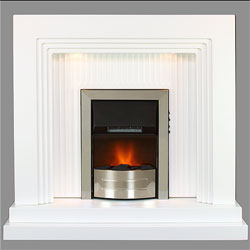 Harrier Fireplaces Canyon Chrome Electric Fireplace Suite
