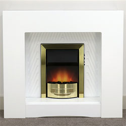 Harrier Fireplaces Escalade Brass Electric Fireplace Suite