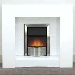 Harrier Fireplaces Escalade Chrome Electric Fireplace Suite