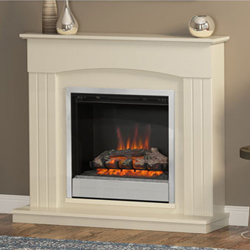 Bemodern Linmere Almond Single Bar Fret Electric Fireplace Suite