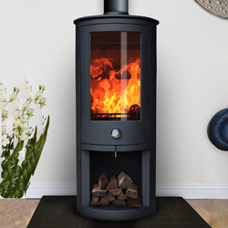 Oak Stoves Zeta 10 Log Store Multifuel Wood Burning Stove