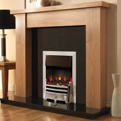 Pureglow Stanford 48 Oak and Bauhaus Illusion Electric Fireplace Suite