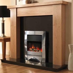 Pureglow Stanford 54 Oak and Zara Illusion Electric Fireplace Suite