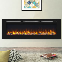 Apex Fires Daytona 1530 Black Glass Electric Fire