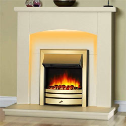 Signature Fireplaces Seattle Brass Electric Suite