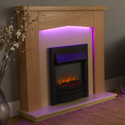 Garland Fires Traverse Black Electric Fireplace Suite