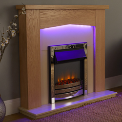 Garland Fires Traverse Chrome Electric Fireplace Suite