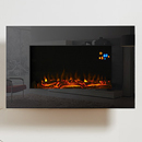 Eko Fires 1110 Black Glass Hang on the Wall Electric Fire